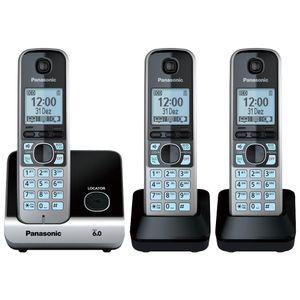 Telefone Sem Fio Panasonic Combo (Base+2 Ramais) Black Piano KX-TG6713LBB