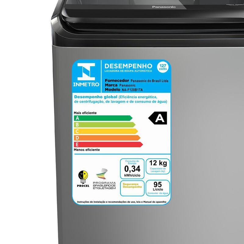 Máquina de Lavar Panasonic 12kg Titânio - NA-F120B1T