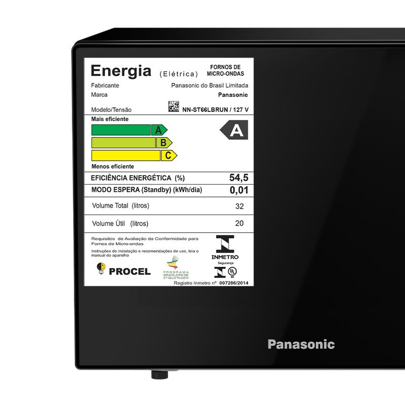 Forno de Micro-ondas Panasonic 32l Black Glass NN-ST66LBRU
