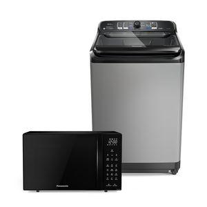 Combo Máquina de Lavar 12kg Titânio + Micro-ondas 32l Black Glass